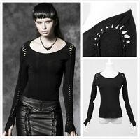 Punk Rave PT-018  Black Goth Punk Visual Kei Twisted Basic Long Sleeve Top Shirt
