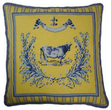 """19"""" x 19"""" Handmade Wool Needlepoint French Country Cow Pillow"""