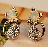 1 Pair Fashion Women Lady Elegant Crystal Rhinestone Ear Stud Earrings Cute Cat