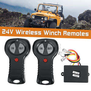 24V Wireless Winch Remote Control Handsets + Receiver Recovery Kit For Jeep SUV