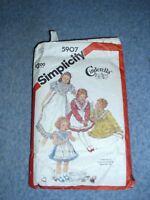 Simplicity 5907 Child's Size 5 Cinderella Pinafore type Dress Pattern 1983 UNCUT