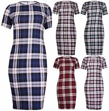 Plus Size Checked Short Sleeve Dresses for Women