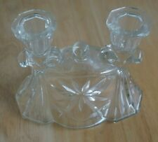 VINTAGE TAPER GLASS DOUBLE CANDLE HOLDER - EXCELLENT CONDITION