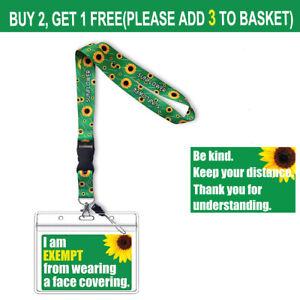 UK Face Covering PVC Card Mask Exemption Hidden Disabilities Sunflower Lanyard