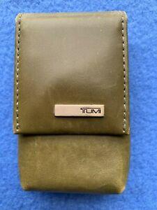 Tumi Double Lipstick Lip Balm Case w/Mirror Olive Green Leather Magnetic Closure
