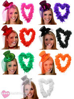 MINI GLITTER TOP HAT AND FEATHER BOA LADIES BURLESQUE HEN NIGHT FANCY DRESS