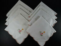 "Lot 8 Vtg Cloth Napkins Embroidered Floral Designs 15 x 15"" Simple Pink Scallop"