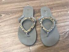 Sanuk Grey Stone Embellished FLIP FLOPS SLIP ON Sandals Women's SIZE 9