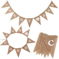Wedding Party Decorations Banner Mr & Mrs Hessian Burlap Jute Bunting Vintage