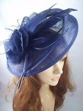 Navy Dark Blue Large Oval Saucer Sinamay Fascinator - Occasion Wedding Races Hat