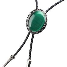 Oval Western Cowboy Bolo Necktie Green Opal Black Leather Tie Necklace