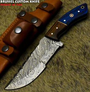 Brussel Rear Handmade Damascus Steel Hard Wood Hunting Tracker Knife