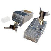 100 Pack Cat6a RJ45 Connector Plug FTP Shielded 8p 8c 3u-50u Crimp Network Cable