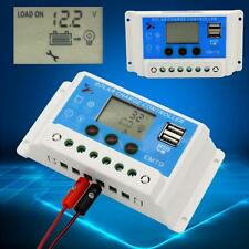 10Amp Dual USB Solar Panel Battery Charge Controller Regulator 12V/24V Auto ED