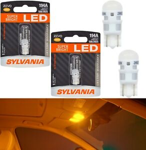 Sylvania ZEVO LED light 194 Amber Orange Two Bulbs Step Door Replace Stock Fit