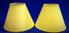 Set of 2 Yellow White Gingham Check Handmade Lamp Shade Lampshade