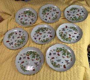 Lenwile House of Ardalt Artwork Korea Butterflies Strawberries 10 Bread Plates