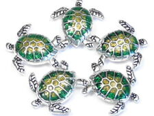 5 - 2 HOLE SLIDER BEADS SILVER PLATED GREEN, ORANGE ENAMEL LOGGERHEAD SEA TURTLE