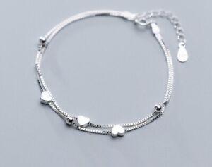 """Women/ Girl 925 Sterling Silver Heart Bead Double Chain Love Hand Bracelet 6-8"""""""