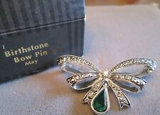 AVON BIRTHSTONE BOW PIN/BROOCH FAUX MARCASITE*MAY*NIB*1994*OLD STOCK*