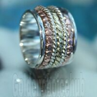 Solid 925 Sterling Silver Wide Band /& Copper Spinner Ring Jewelry Handmade Free Shipping Good Quality All Size
