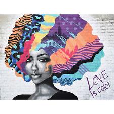 Barbalis Graffiti Woman Psychedelic Hair Large Canvas Wall Art Print