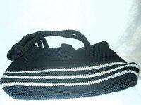 "Black Tan Crochet Knit Shoulder Handbag Purse 15"" x 11""  Black Lined NEW"