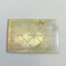 1 x Antique Mother of Pearl Chinese Gaming compteur rectangulaire motif feuille