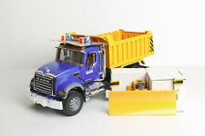 NWOB Bruder MACK Granite Dump Truck with Snow Plow Blade 02825