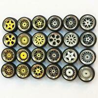 4Pcs Automobile Car Tires Model with Axles Wheels Car Model Toy 1:64 Scale C0W9