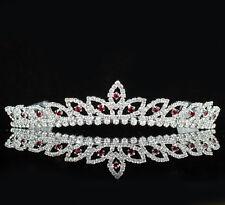 Bridal Red Austrian Rhinestone Tiara With Hair Comb Wedding Bridal H303R