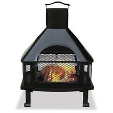 Uniflame Firehouse Firepit Grill Outdoor Patio Deck Wood Burning Fireplace