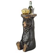 Rustic Cabin Black Bear Arms Raised Holding Decorative Sculptural Accent Table
