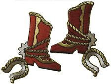 """2303 3"""" Embroidery Iron On Cowboy Boots/pair Applique Patch"""