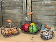 Set of 3 Oval Wire Baskets Vintage Storage Rustic Brown Trugs Wood Handle Eggs