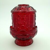 Vintage Indiana RED FLASH GLASS Large Fairy Lamp Stars and Bars Pattern 7""