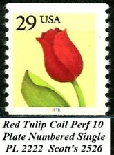 $.29 Red Tulip Plate Numbered Perforated 10 Single Coil PL 2222 MNH Scott's 2526