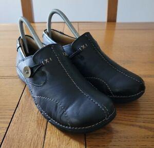 Clarks Un Structured Womens Black Leather Slip On Un Loop Shoes - UK Size 4D 37.