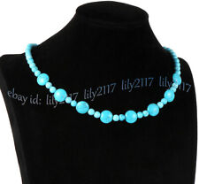 Genuine 10mm 4mm Blue Turquoise Round Coin Gemstone Beads Necklaces 16-28 inches