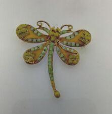 Bronze Golden Yellow Enamel Butterfly Brooch