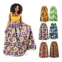 Womens African Print High Waist Party Dashiki Ethnic Style Maxi Long Skirt Dress