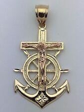 14K Two Tone Gold Anchor Jesus Christ Crucifix Luck Sailor Charm Pendant 6.3 g