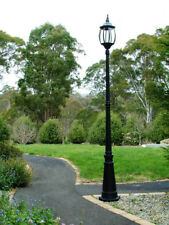 NEW GLASS VICTORIAN GARDEN LAMP POST DRIVEWAY POOL PATH DECK LIGHT Black Outdoor