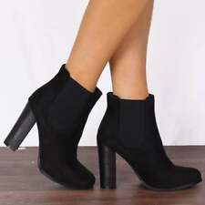 GREY FASHION FAUX SUEDE GUSSET HEELED ANKLE BOOTS HIGH HEELS SHOES SIZE