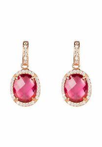 Earring Rose Gold Pink Tourmaline Stud Gemstone Dangle Gift 925 Statement Bold