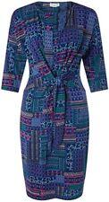 BNWT stylish Monsoon Priya patchwork style print navy stretch dress size 22