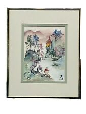 Charlotte Fung Miller Still Life Mountains Pagoda Painting Floral WI Signed