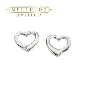Melchior Jewellery Sterling Silver Small Open Heart Stud Earrings Gift Boxed