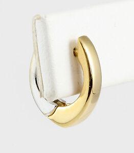 14k Two-Tone Gold Modern U Shaped Huggie Style Earrings Hoops White & Yellow