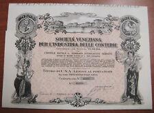 1 TITOLO AZIONARIO SHARE SOCIETA' VENEZIANA INDUSTRIA DELLE CONTERIE 1933 #7